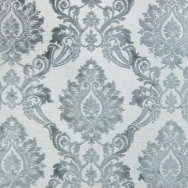 Silver Cut Velvet   Designer Upholstery Fabric   Godiva    HauteHouseFabric.com