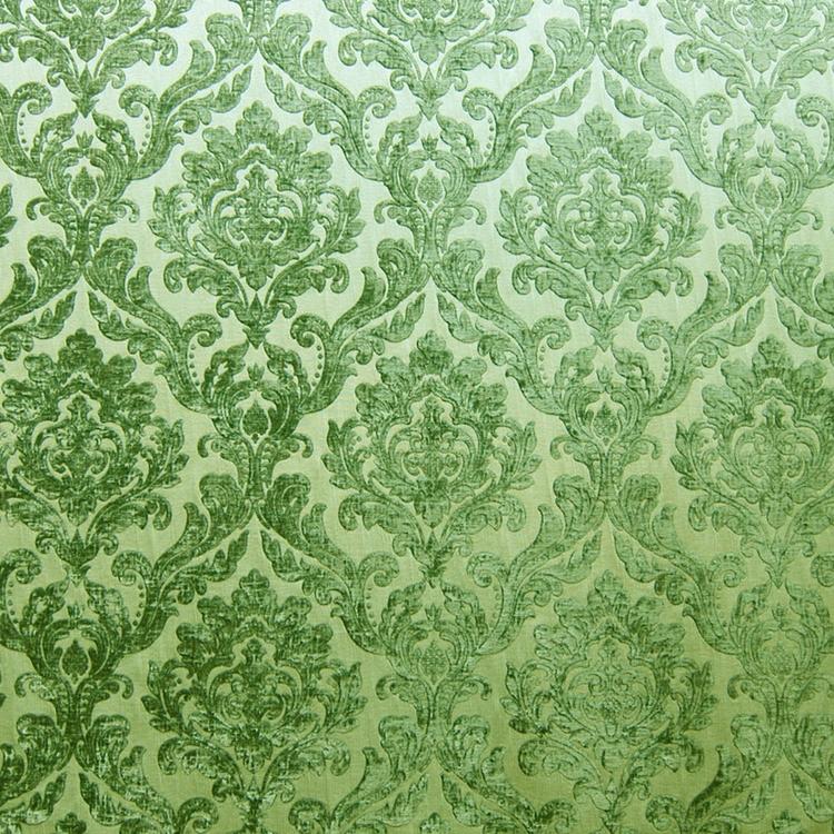 Green Chenille Damask Designer Upholstery Fabric Marcus