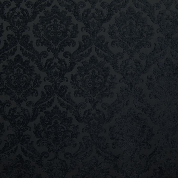 Black Chenille Damask Designer Upholstery Fabric Marcus
