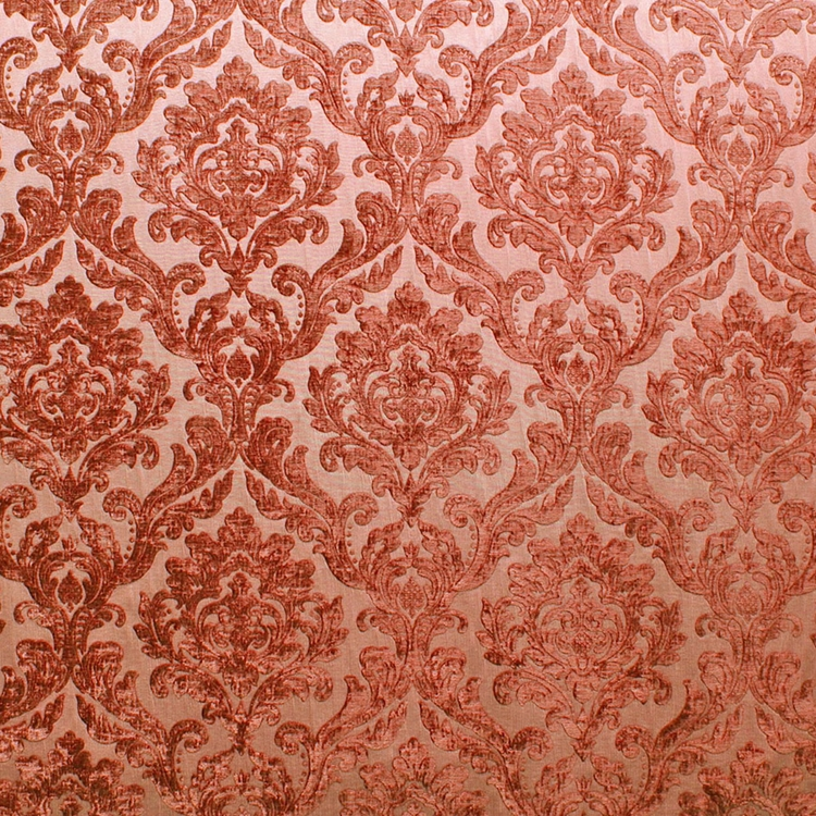 Orange Red Chenille Damask Designer Upholstery Fabric Marcus