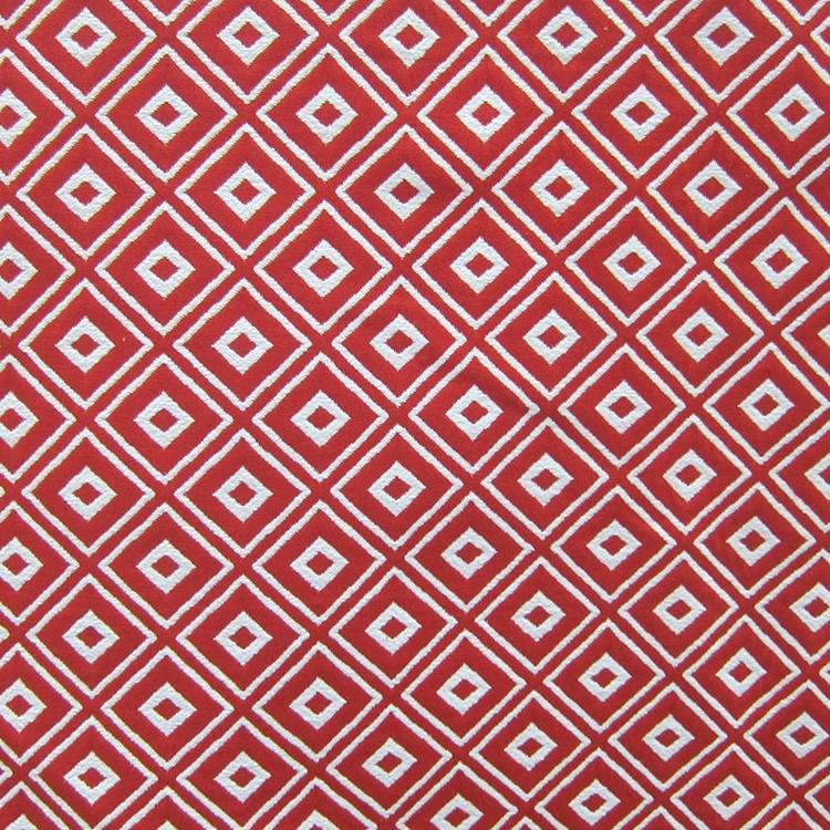 Red Geometric Woven Designer Upholstery Fabric Alto Hautehousefabric