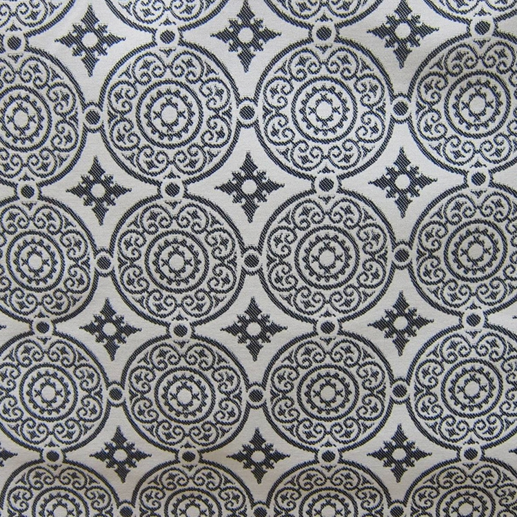 Hhf Medallion Black Back Outdoor Upholstery Fabric