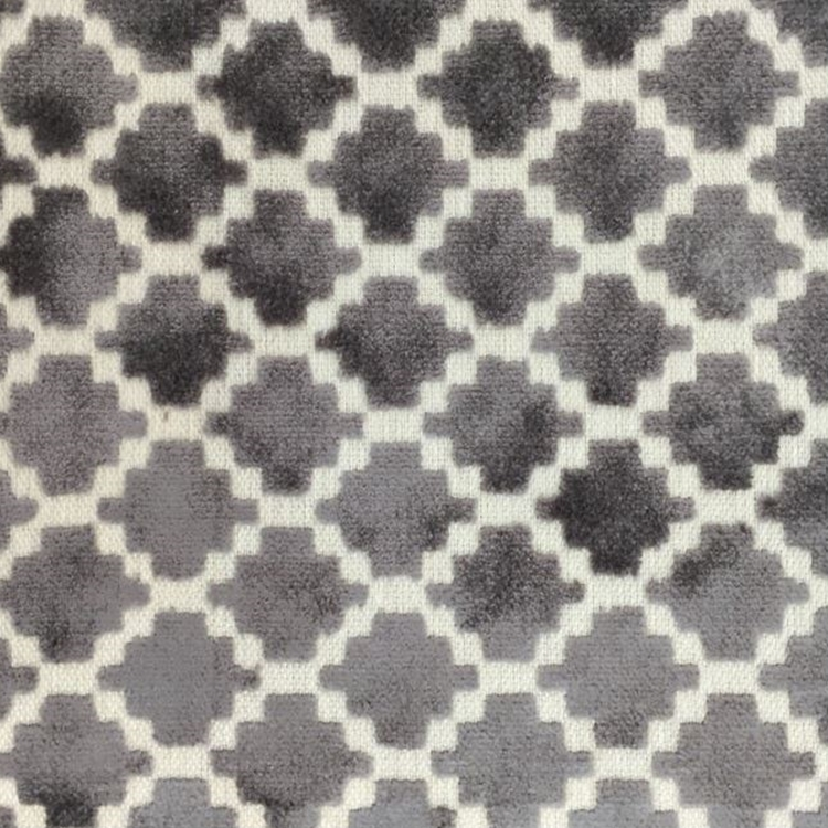 Grey Velvet Geometric Designer Upholstery Fabric Arcade Hautehousefabric