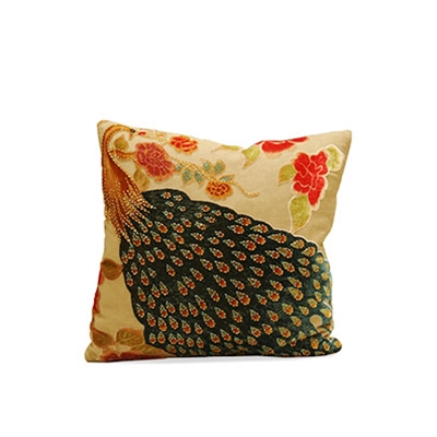Peacock Cream Velvet Pillow