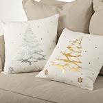 Christmas Tree Pillow - Metallic Foiled and Embroidered Pillow - 100% Cotton - HauteHouseHome.com