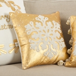 Snowflake Tinsel Pillow - Metallic Foiled and Embroidered Pillow - 100% Cotton - HauteHouseHome.com