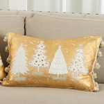 Christmas Tree Tinsel Pillow - Metallic Foiled and Embroidered Pillow - 100% Cotton - HauteHouseHome.com