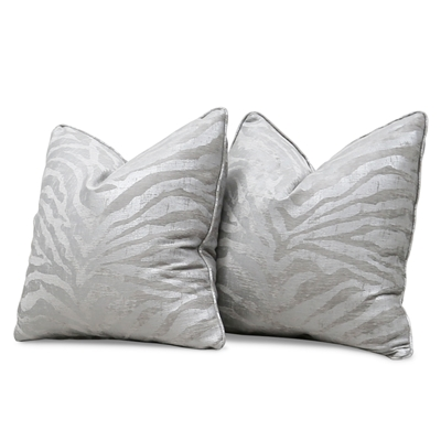 Gizela Metallic Silver Zebra Print Pillow Set