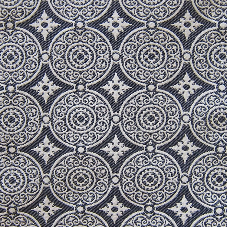 Haute House Fabric - Medallion Navy - Woven Fabric #3142