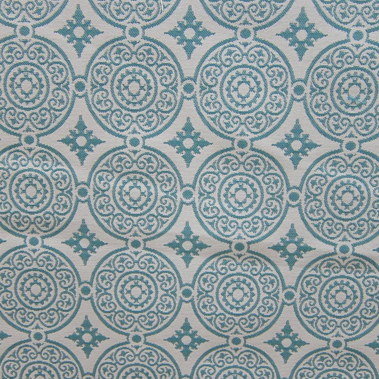Haute House Fabric - Medallion Turquoise - Woven Fabric #3149