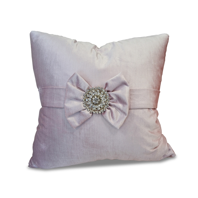 Bow Sweet Lilac Velvet Pillow